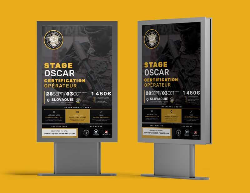 Création graphique affichage publicitaire promotion stage commando