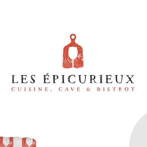 Logo design graphique restaurant Les épicurieux